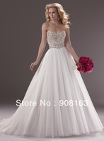 Fashion ! A-line Strapless Tulle Designer Wedding Dress ,Bridal Dress 2013 Sparkles with Swarovski crystals on Bodice