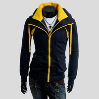 2013 New fashion mens autumn and winter hoodies color block faux two piece sweatshirt Promotion,Men's Hoodies Sweatshirtts ,