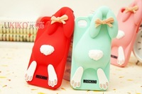Free shipping 2013 Brand New Fashion Brand Buck Teeth Of Rabbit bear Silicon Case for Apple iphone 4 4G 4S 5pcs/lot