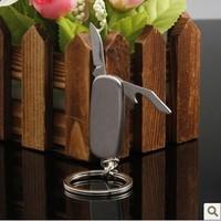 Multifunctional folding limited edition male car keychain key chain knife bottle opener keychain