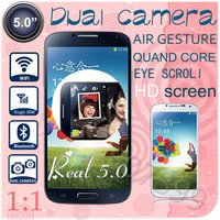 "1:1 I9500 phone S4 phone MTK6589 Quad core  Eye control Air gesture Real 5.0"" inch Screen 1GB Ram 4GB Rom Android 4.2 GPS 3G"
