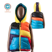 F5 VIP Youth Club 506313 Russia Brand Striped Cotton-padded Vests for Boy's Winter Hooded Outwear Kids Warm Coats 3 Colors