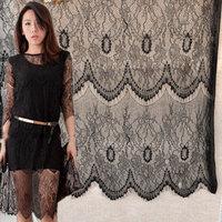 "Wholesales Lace Fabric Black Eyelash Wave Soft Wedding Fabric DIY Handmade 57"" width 1 yard"