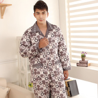 free  shipping Winter cotton-padded long-sleeve sleepwear male thickening flannel plus size sleep set lounge