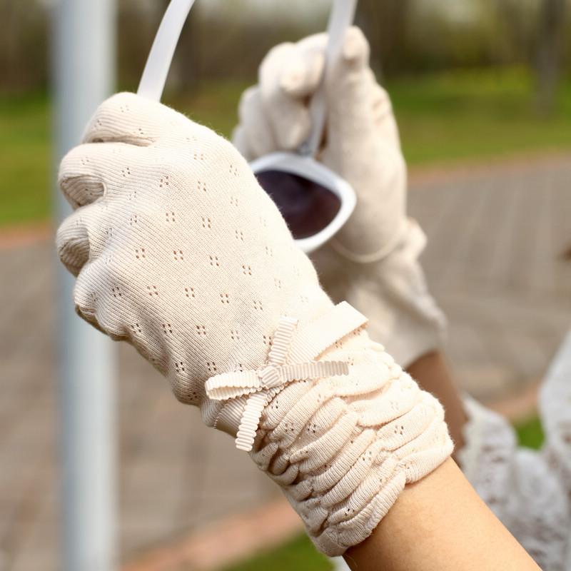 Sunscreen gloves driving gloves slip-resistant 100% cotton bow anti-uv summer short women's thin(China (Mainland))