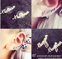 Free Shipping(MOQ 10$ Mix)2013 New Punk Alloy Letter Women Stud Earring Wholesale