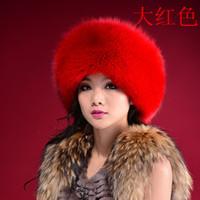 Fox hat women's Women fur genuine leather real fur Light gray white princess hat