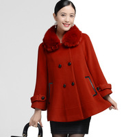 2013 autumn and winter woolen outerwear fox fur cloak cashmere overcoat women's outerwear CH517