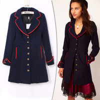 Free Shipping 2013 new winter red edging synchronization models women coat Slim was thin woolen jacket