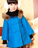 Autumn With fur collar warm wind Plush cape wool coat double-breasted British girls woolen jacket Warm woolen coat wool&Blends