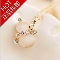 Free shipping women jewelry czech stone 18k gold plated chain clavicle short necklace gourd  opal pendants