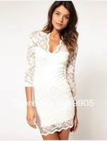 Free shipping Summer new European and American foreign trade lady V-neck sexy lace bottoming Slim Sleeve Dress