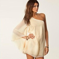 Free shipping fashion women's oblique strapless long-sleeve racerback loose chiffon one-piece dress sexy one shoulder dress