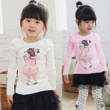 2013 Autumn Hot Sale Children T-shirts,Plus Size Long Sleeve Character Slim Top,Girl's Cute Shirts,Kids Blouse,Free Shipping(China (Mainland))