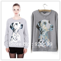 lovely dog pattern women pullovers sweatshirts cotton blend winter autumn tops personal girl's cotton coat free shipping