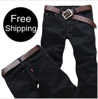 2014 New Fashion Slim Fit Brand Men's Jeans Black Color Big Size Denim Trousers Straight Pants Men + Free Shipping stretch pants