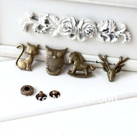 2.7cm 40pcs antique brass cartoon snap buttons purse bag buckles parts DIY accessories 4 designs mix