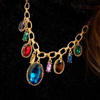 Min order $15 Free Shipping- colorful-Paragraph elegant drop sparkling Crystal oval gem short design necklace female