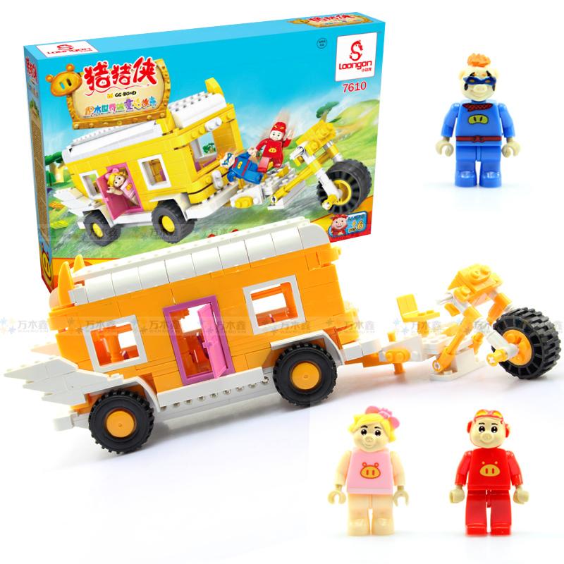 Free shipping Xiaobailong assembling building blocks child plastic insert toy blocks car school bus(China (Mainland))