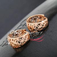 18k 18ct Rose Gold GF Earrings Filigree Flower Vintage Pattern Huggie Hoop 15MM Free shipping