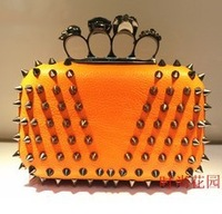 New Punk Style Brand Design Women Handbag. Fashion Bright PU Leather Rivet Skull Clutch Evening Bag, Long-chain Crossbody