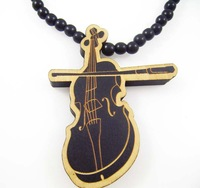 Violin pendant designs hip hop good wood made rosary beaded pendants necklaces(10pc/lot)
