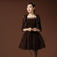 Hot-selling 2013 autumn and winter new arrival female ruffle hem silk organza small long-sleeve dress