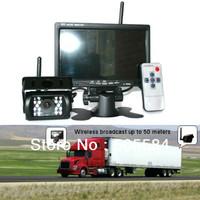 "Waterproof Truck Caravan Bus Wireless IR Reversing Camera + 7"" LCD Monitor Car Rear View Kit Auto Parking Backup Free Shipping"