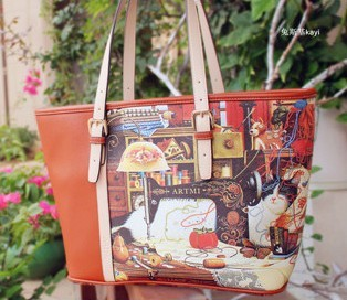 free shipping Art mi 2013 close the new handbag trend printing in Europe and the cat female shoulder bag restoring ancient ways