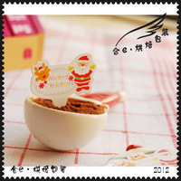 100pcs/lot 2.6cm (F) Santa Claus muffin cupcake/cake decoration, cupcake toppers/picks , cupcake paper/wrapper for Christmas