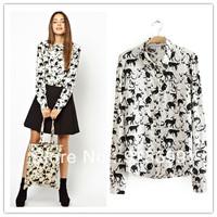 cute black cartoon cat pattern women blouses rivet punk lapel collar stylish lady chiffon basic casual shirt free shipping