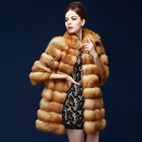 natural fur coat woman genuine red fox fur overcoat outerwear women real luxury fur coat fashion turn-down collar long design