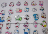 S19 Free Shipping 100Pcs/Lots Silver Plated Enamel mixed Kitty Charms Pendants