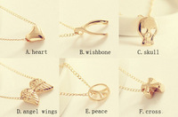 Hot Sales!!Fashion Heart Wishbone Skull Wings Peace Cross Pendants Gold Necklaces Women Jewelry 35PCS/LOT Free Shipping