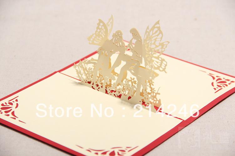 Convites de casamento criativa 3D cartões luxuosos cartões de convite de casamento de corte a laser com frete grátis para cartões(China (Mainland))