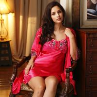 pajamas Lounge sleepwear 2014 faux silk lace flower spaghetti strap sexy twinset 8753