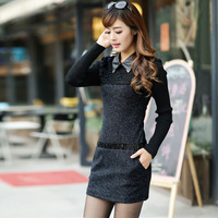 2013 autumn and winter new arrival one-piece dress autumn woolen women's slim skirt long-sleeve basic skirt