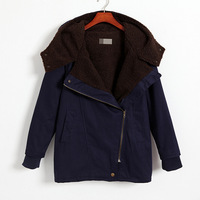 2013 Fall Jacket Wool Warm American Style Navy Blue Clartred Loose overcoat women winter