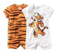 2014 retail boy short sleeve romper baby cotton bodysuits jumpsuits cartoon tiger bodysuits