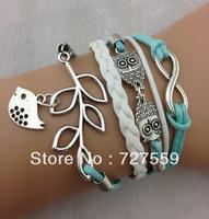 (Min Order $7) Charms Bangle Infinity Antique Silver Karma Owl Leaf Bracelet Bird Rope Men Girl Leather Bracelet Women Jewelry