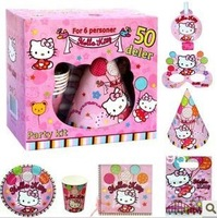 Cute cartoon hello kitty birthday party kit for 6 kits,6pcs(cup+plate+blowouts+bag+hat+mask)+tissue+table cover+banner