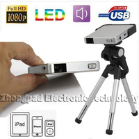 Free shipping: Portable 40 Ansi Lumens Phone Tablet Computer Pico Multimedia Projector (DLP-301)