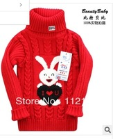 Free shipping baby infant children turtleneck sweater knit render unlined upper garment boy girl stretch sweater