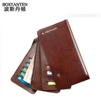 Guaranteed 100% Genuine leather Rotary vertical male bank card bag ultra-thin long design multi card holder card case wallet