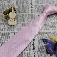 F109 Light Pink Polka Dot 100% Silk Jacquard Classic Woven Man's Tie Necktie