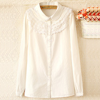 Autumn fresh laciness peter pan collar shirt all-match long-sleeve cotton shirt female plus size