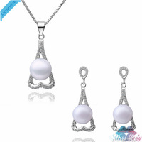 Wholesales Fashion Jewelry 18K Platinum Plated Pearl Trendy Heart Pearl Jewelry Sets with necklace earring for women LS036