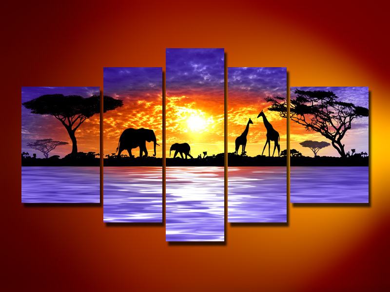 wall art Giraffe savanna elephants decoration Landscape Framed canvas ...