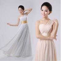 new 2014 spring elegant women long formal dress bridesmaid dinner one shoulder design free shipping