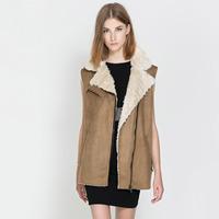 Free shipping!fashion suede fabric berber fleece sleeveless oblique zipper fur coat brief autumn and winter vest